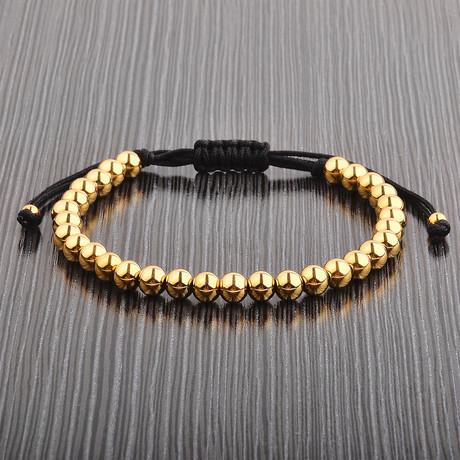 Polished Stainless Steel Beaded Bracelet // Yellow + Black