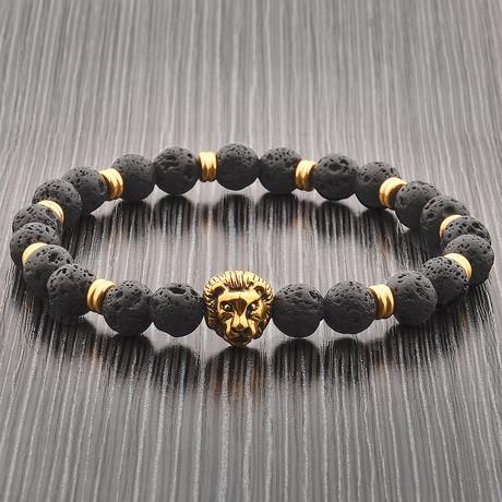 Lava Stone + Stainless Steel Lion Head Beaded Bracelet // Black + Gold
