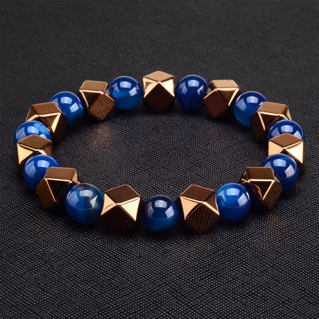 Hematite + Agate Stone Bracelet // Blue + Pink
