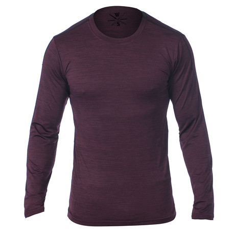 Everyday Long Sleeve Fitness Tech T // Dark Red (S)