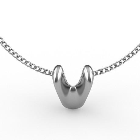 Sculptural Heart Pendant // Silver