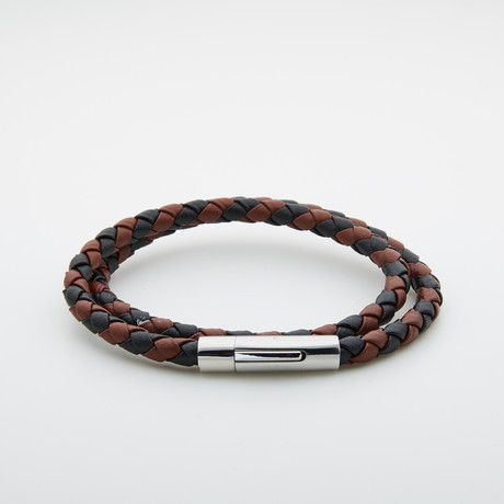 Jean Claude Jewelry // Leather + Stainless Steel Double Wrap Bracelet // Multicolor