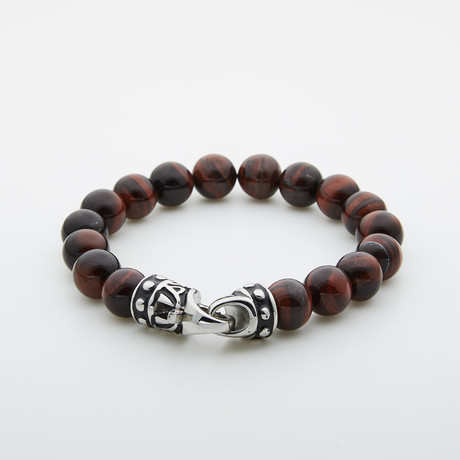 Jean Claude Jewelry // Tiger Eye Bead Bracelet // Red