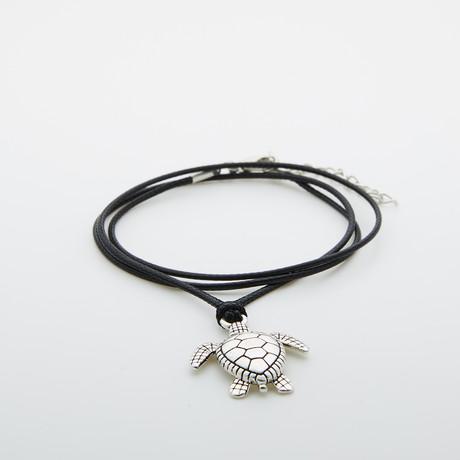 Jean Claude Jewelry // Wax Cord Necklace + Spiritual Turtle Pendant // Black + Silver