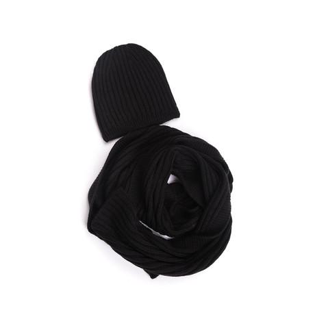Carter Wool Hat + Scarf Set (Black)