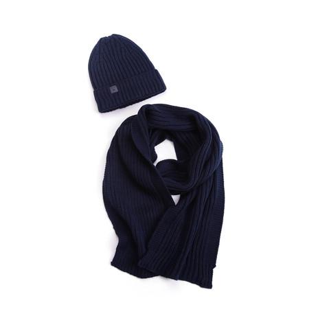 Bart Wool Hat + Ribbed Scarf Set // Navy