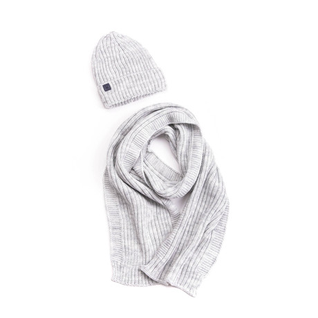 Bart Wool Hat + Ribbed Scarf Set // Light Gray