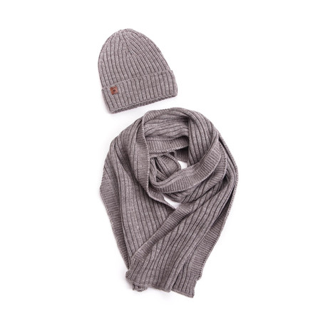 Bart Wool Hat + Ribbed Scarf Set // Cappuccino