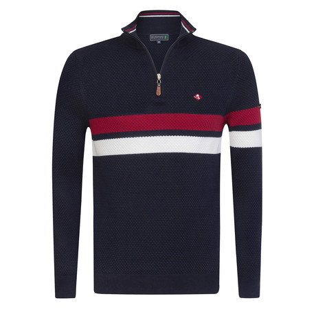 Rubber Pullover // Navy + Ecru + Red (S)