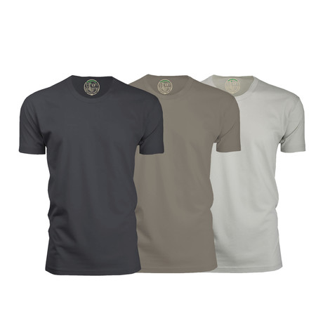 Semi-Fitted Crew Neck T-Shirt // Heavy Metal + Warm Gray + Sand // Pack of 3 (S)