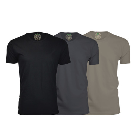 Semi-Fitted Crew Neck T-Shirt // Black + Heavy Metal + Warm Gray // Pack of 3 (S)