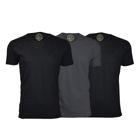 Semi-Fitted Crew Neck T-Shirt // Black + Heavy Metal // Pack of 3 (S)