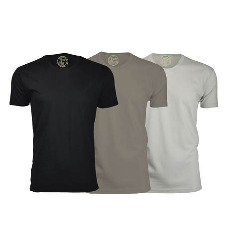 Semi-Fitted Crew Neck T-Shirt // Black + Warm Gray + Sand // Pack of 3 (S)