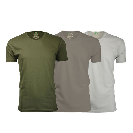 Organic Semi-Fitted Crew Neck T-Shirt // Military Green + Warm Gray + Sand // Pack of 3 (S)
