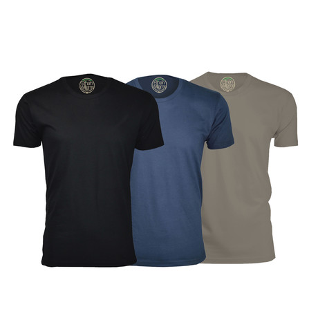 Semi-Fitted Crew Neck T-Shirt // Black + Navy + Warm Gray // Pack of 3 (S)