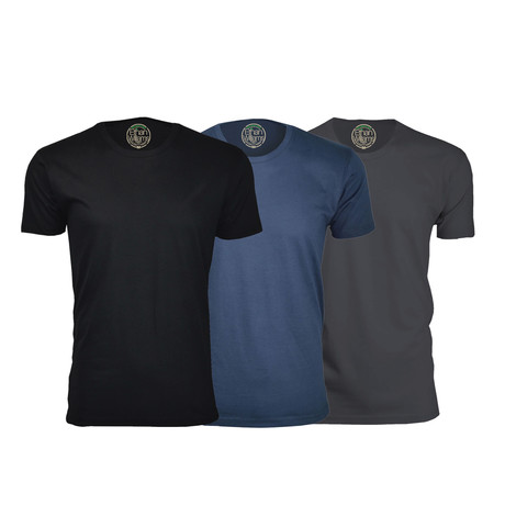 Semi-Fitted Crew Neck T-Shirt // Black + Navy + Heavy Metal // Pack of 3 (S)