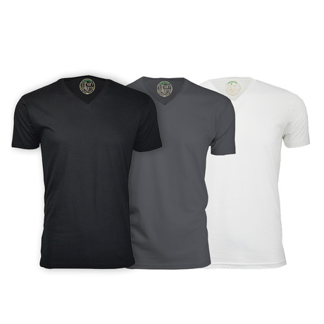 Semi-Fitted V Neck T-Shirt // Black + Heavy Metal + White // Pack of 3 (S)