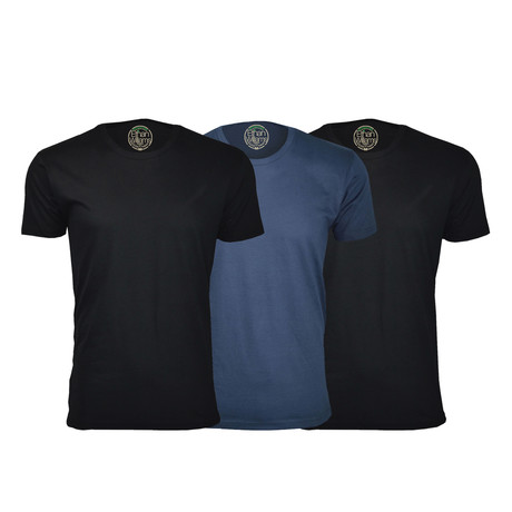 Semi-Fitted Crew Neck T-Shirt // Black + Navy + Black // Pack of 3 (S)