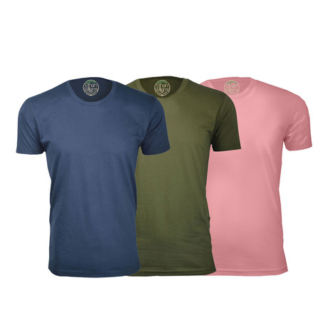 Semi-Fitted Crew Neck T-Shirt // Navy + Military Green + Light Pink // Pack of 3 (S)