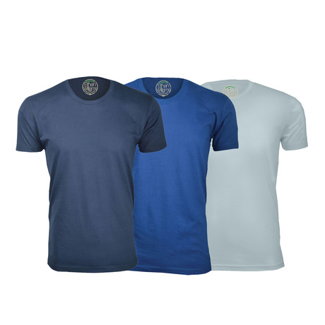 Semi-Fitted Crew Neck T-Shirt // Navy + Royal Blue + Light Blue // Pack of 3 (S)