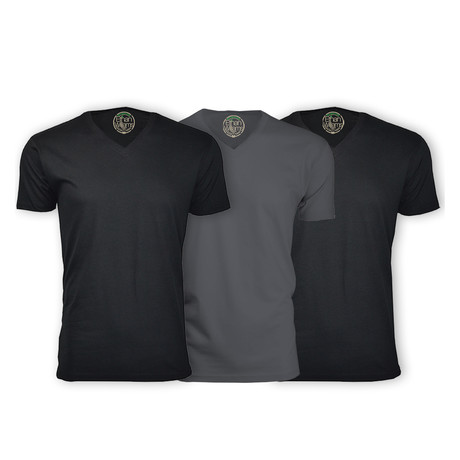 Semi-Fitted V Neck T-Shirt // Black + Heavy Metal + Black // Pack of 3 (S)