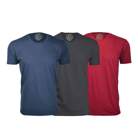 Semi-Fitted Crew Neck T-Shirt // Navy + Heavy Metal + Burgundy // Pack of 3 (S)