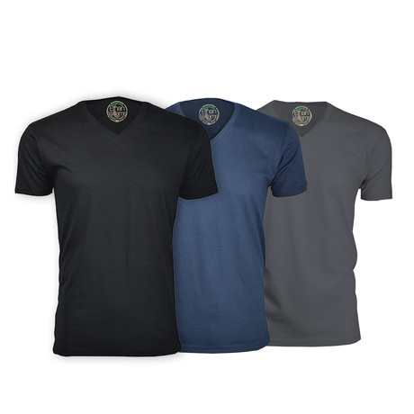 Organic Semi-Fitted V Neck T-Shirt // Black + Navy + Heavy Metal // Pack of 3 (S)