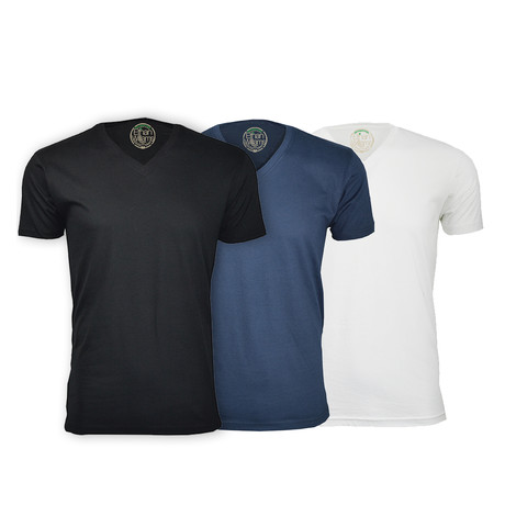 Semi-Fitted V Neck T-Shirt // Black + Navy + White // Pack of 3 (S)
