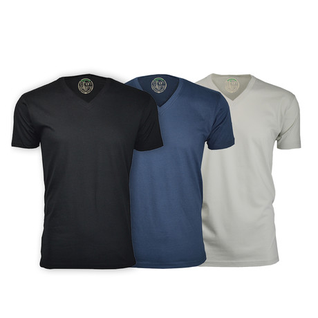 Semi-Fitted V Neck T-Shirt // Black + Navy + Sand // Pack of 3 (S)