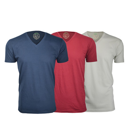 Semi-Fitted V Neck T-Shirt // Navy + Burgundy + Sand // Pack of 3 (S)