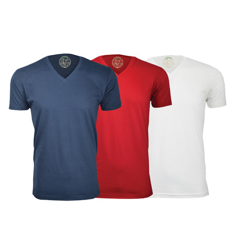 Semi-Fitted V Neck T-Shirt // Navy + Red + White // Pack of 3 (S)
