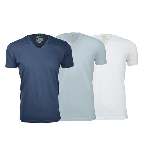 Semi-Fitted V Neck T-Shirt // Navy + Light Blue + White // Pack of 3 (S)