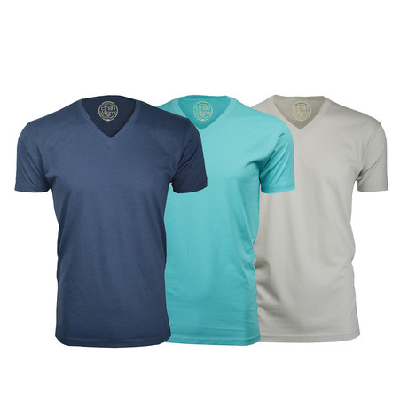 Semi-Fitted V Neck T-Shirt // Navy + Turquoise + Sand // Pack of 3 (S)
