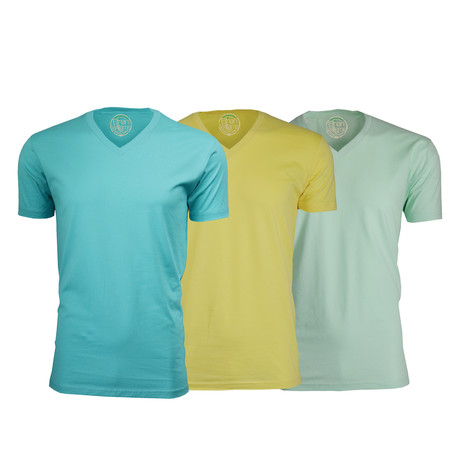 Organic Semi-Fitted V Neck T-Shirt // Turquoise + Yellow + Mint // Pack of 3 (S)