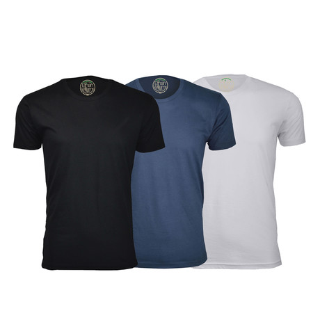 Semi-Fitted Crew Neck T-Shirt // Black + Navy + White // Pack of 3 (S)