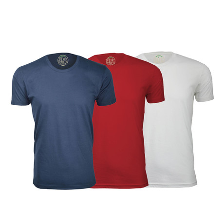 Semi-Fitted Crew Neck T-Shirt // Navy + Red + White // Pack of 3 (S)