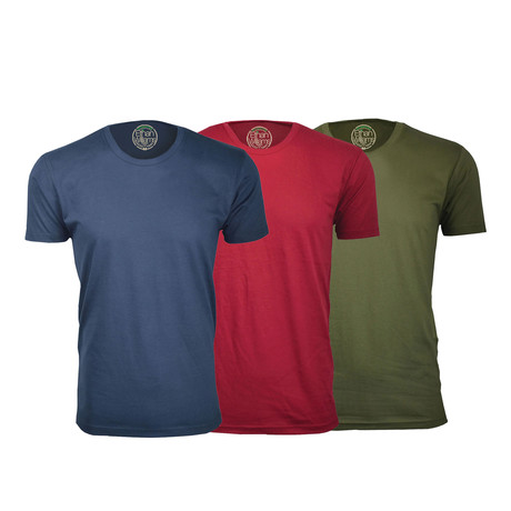Semi-Fitted Crew Neck T-Shirt // Navy + Burgundy + Military Green // Pack of 3 (S)