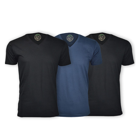 Semi-Fitted V Neck T-Shirt // Black + Navy + Black // Pack of 3 (S)