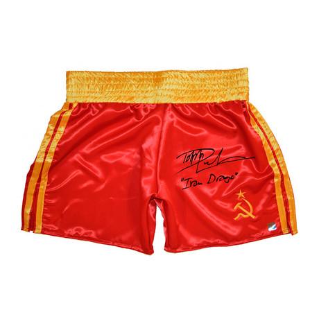 "Dolph Lundgren ""Ivan Drago"" // Autographed Russian Boxing Trunks"