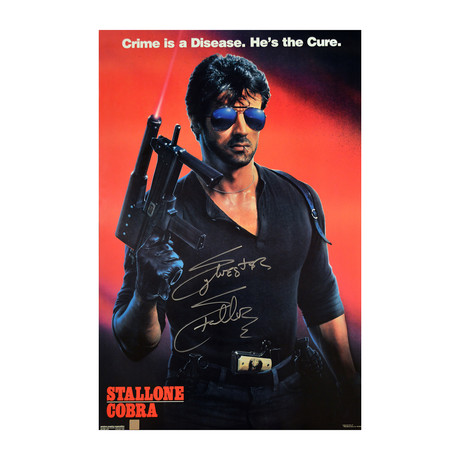 """Sylvester Stallone // Autographed """"Cobra"""" Movie Poster"""
