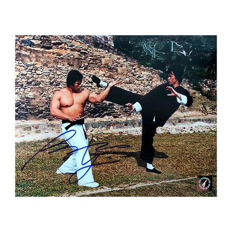"""Bolo Yeung // Autographed """"Enter The Dragon"""" Photo Blocking Kick From Bruce Lee"""