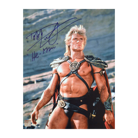 """Dolph Lundgren """"He-Man"""" // Autographed Masters Of The Universe Photo """"Looking Up"""""""