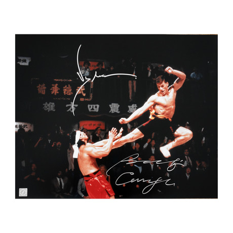 """Jean Claude Van Damme & Bolo Yeung // Autographed """"Bloodsport"""" Flying Kick Photo"""