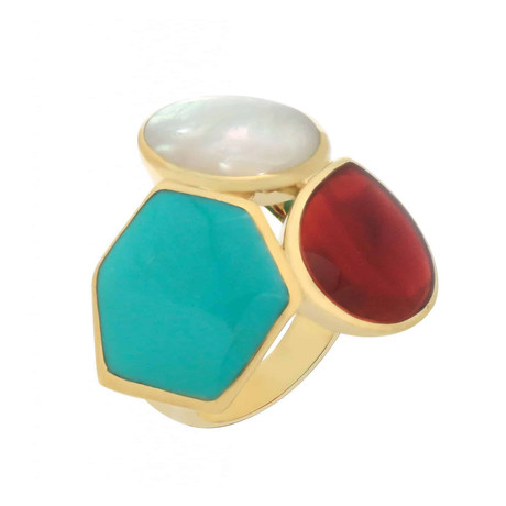 Ippolita 18k Gold Polished Rock Candy Gelato 3-Stone Cluster Ring // Ring Size: 7