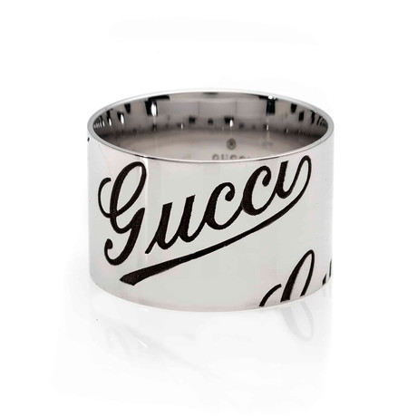 Gucci 18k White Gold Band Ring // Ring Size: 10.25