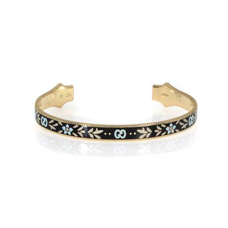 Gucci Icon 18k Yellow Gold + Enamel Bangle Bracelet