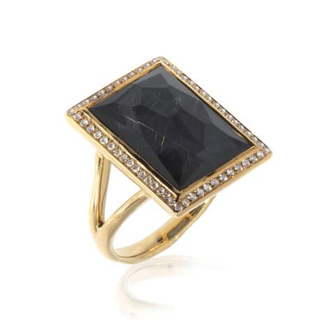 Ippolita Gelato 18k Yellow Gold Diamond + Hematite Ring // Ring Size: 7