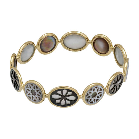 Ippolita Polished Rock Candy 18k Yellow Gold Mother of Pearl Bangle Bracelet