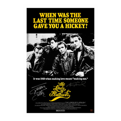"""Sylvester Stallone & Henry Winkler // Autographed """"Lords Of Flatbush"""" Movie Poster"""