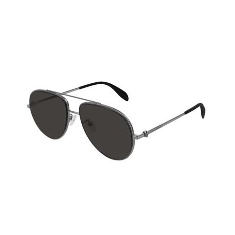 Alexander McQueen // Unisex Pilot Aviator Skull Sunglasses // Gray